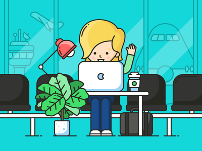 Nomad Productivity workspace desk light plant plane line vector illustration. icon person airport nomad