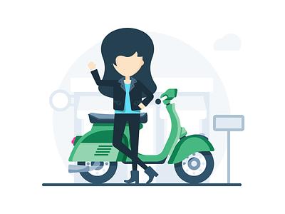 Segment 01 motorcycle vector flat person woman scooter vespa illustration segment