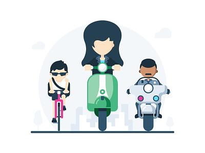 Segment 02 ride scooter motorcycle bicycle cop flat illustration vector vespa