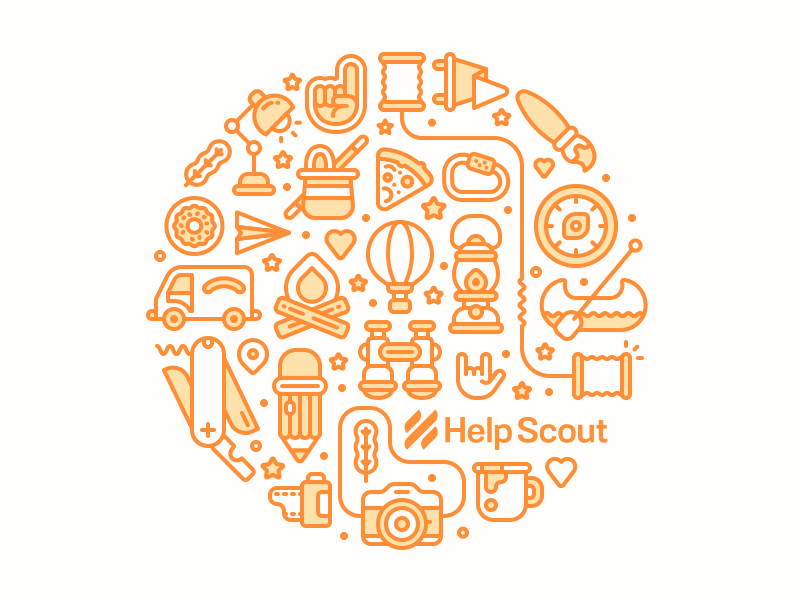Circle Up compass lantern pencil camera line stroke vector polymailer icons