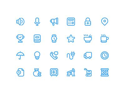 Slang Icons ramen truck watch speaker mic illustration set vector stroke design iconography icons