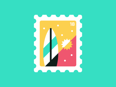 Stamp III: Surf vector illustration flat stamp postage adventure outdoors summer beach surfboard surf