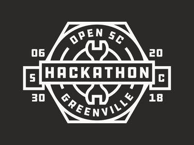 OpenSC Hackathon 2018 vector stroke hackathon hack event logo wrench badge