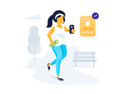 Achieving Health Goals goals fitness device person running health exercise design iconography vector illustration
