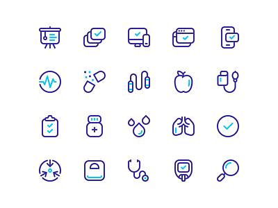 Healthy icons health medical design stroke vector line iconography icon