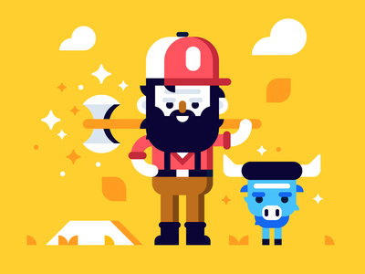 Paul + Babe flat forest character midwest ox lumberjack vector illustration