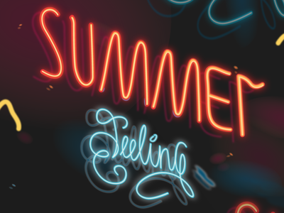Summer feeling lines light orange cyan blue neon signboard neon sign lettering neon colors neon lights neon light neon branding logo nighttime night illustration vector