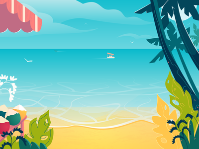 view of the beach tropical plants landscape design heat tropics summer coconut palm tree palm dinghy boat design vector illustration landscape illustration ocean water sea landscape beach
