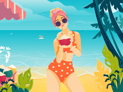 Girl on the beach travel tourist tourism summer sea polka dot swimsuit polka dot palm tree tropical plants shop on the beach orange swimsuit coconut beach girl flower branding vector illustration
