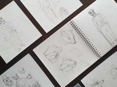 Sketches of the character - badger an aristocrat march character illustration pencil sketches idea search freehand sketch sketchbook character design character designer hat cane jacket pencil sketch sketch animals wild animals badger badgers logo illustration