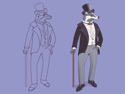 Badger character bar pub gentleman sir mayor charactar badger animals line art bow tie monocle hat aristocrat suit cane line badgers logo vector illustration