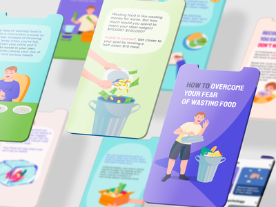 illustrations for the mobile app donating saving food iphone mobile app saving money healthy lifestyle mindfulness nutrition eating meal food branding flat web app icon ux ui illustration vector