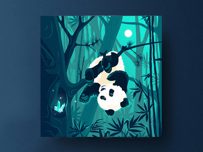 Panda square postcard pandas tropics animals magic bamboo radiance crystal panda logo panda moonlight moon summer nighttime night design branding illustration vector