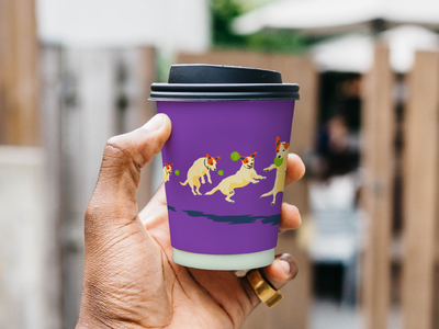 To-go cups icon стаканчик для кофе кофе собака violet purple coffeeshop coffee shop the design of the cup the design of the cup tennis ball terrier coffee dog typography design branding illustration vector to-go cups
