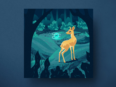 Fallow deer postcard square postcard magic night forest forest wildebeest antelope deer illustration sphere branding moonlight moon summer nighttime night design illustration vector fallow deer deer