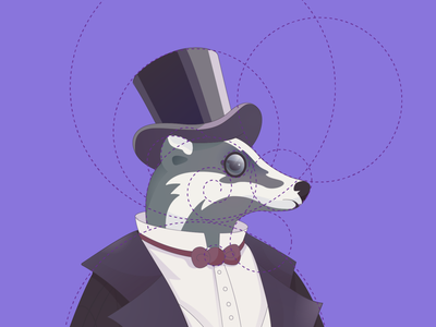 Badger - logo for the pub pub liquor store aristocrat sir monocle hat violet mascot characterdesign wine logotype mark concept logo animal logo badger digital animal illustration vector