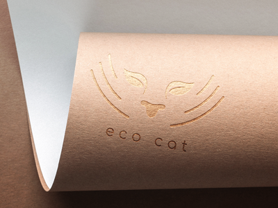 Сat logo beige leaves foliage logo submission embossing paper cat litter ecological products brending eco-friendly design ecology cats cat eco eco-friendly typography logo illustration vector