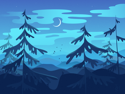 night forest forest best dribble best dribbble shot nature birds moon night forest nighttime night vector illustration