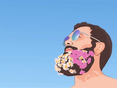 Portrait of a man man flowers in the beard chamomile beard glasses flowers portrait art portrait portrait of a man design brown hair vector illustration