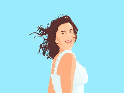 Portrait of a girl design brees window white dress smile illustration brown eyes brown hair vector woman girl portrait