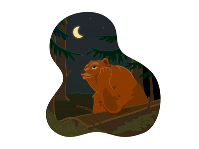 Dreamy bear twilight tonight nighttime night woodland forest half moon demilune moonlight luna moon fancy desire daydream vision dream bear vector illustration