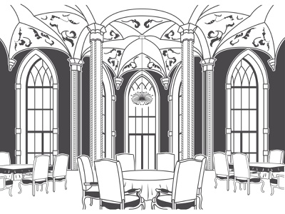 Banquet room graphics nuptial nuptials marriage wedding monochromatic monochrome black-white pictograph pictogram icon vector illustration drawing feast banquette banquet hall