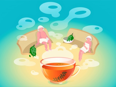 Steamroom teacup bowl folk party broom sweating room sauna steam room steamroom people cup of tea tea cup tea team woman man vector illustration