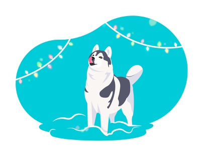 Husky tongue licks wreath lights jan january winter snow dog vector illustration