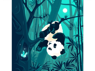 Panda and the magic crystal. The final part. nighttime night twilight silhouette nightfall gloaming dusk moonlight moon panda magic enchantment tropical wood tropical forest rainforest jungle stone gemstone crystal vector