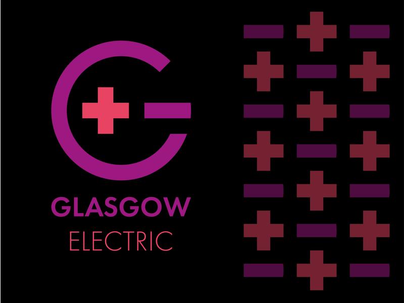 Glasgow Electric lettering brand illustrator minimal flat typography design logo vector branding
