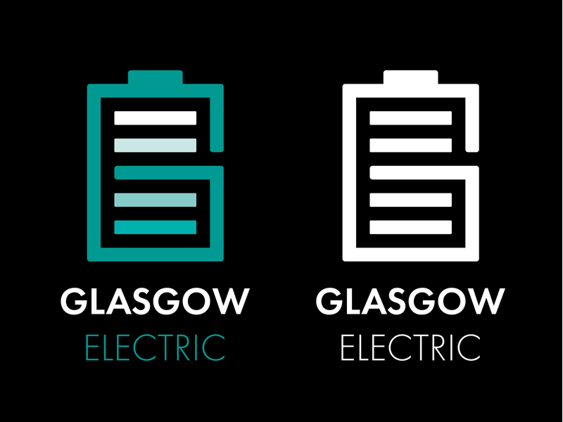 Glasgow Electric - Charging clean identity illustrator minimal flat typography logo vector illustration branding
