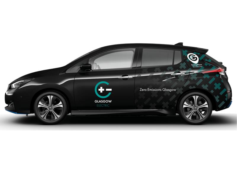 "Glasgow Electric Car livery ""Polarity"" brand flat identity graphic design illustrator minimal design logo vector branding"