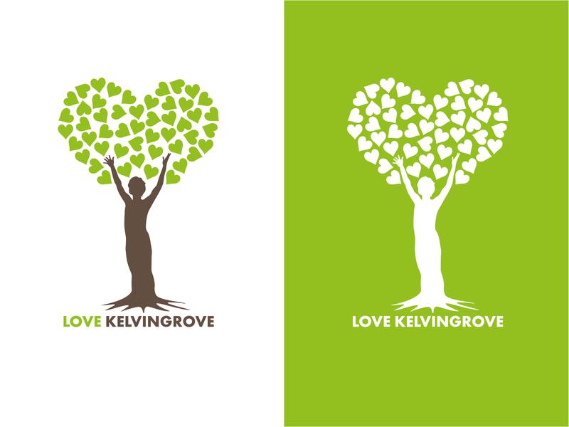 Love Kelvingrove Tree Lover lettering graphic design minimal flat typography design logo vector illustration branding