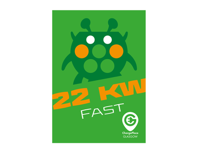 ChargePlaceGlasgow22KWFastAlien clean graphic design identity minimal flat typography design vector illustration branding