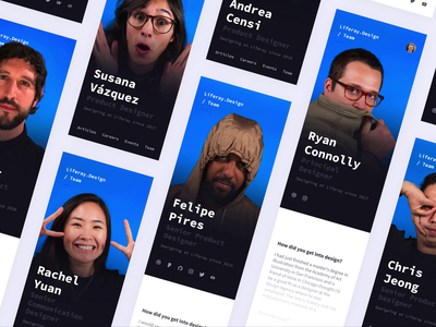 Update to Team Profiles: Mobile smart animate card profile ux team design team website animation minimal flat web icon typography ux ui design 2d code figma liferay