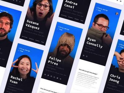 Update to Team Profiles: Mobile smart animate card profile ux team design team website animation minimal flat web icon typography ux ui design 2d code figma liferay