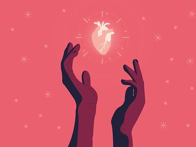 Precious pink hand heart art design vector cute illustrator art illustrator illustration