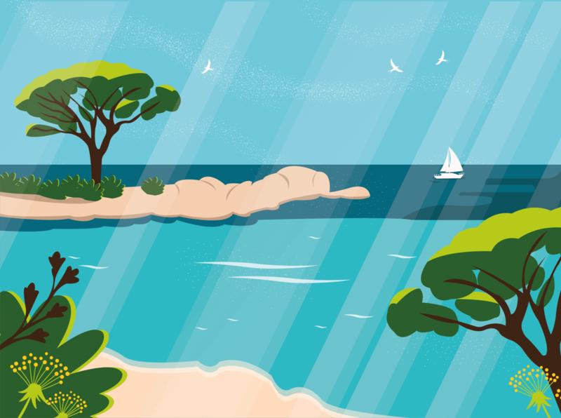 Corse ocean sunny corse beach art vector design cute illustrator art illustrator illustration