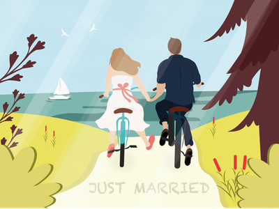 Just Married beach couple love married nature art vector design cute illustrator art illustrator illustration