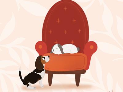 Puppy and bunny beagle dog bunny rabbit procreate animal design cute illustrator art illustration