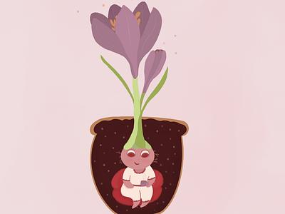 Cup of tea procreate art forest girl tea plant nature design cute illustrator art illustration