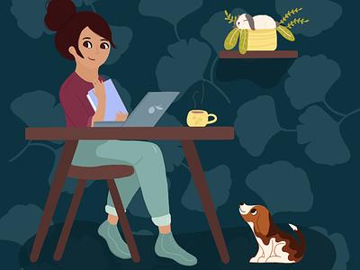 Work with friends work dog beagle bunny love rabbit procreate girl animal art design cute illustrator art illustration