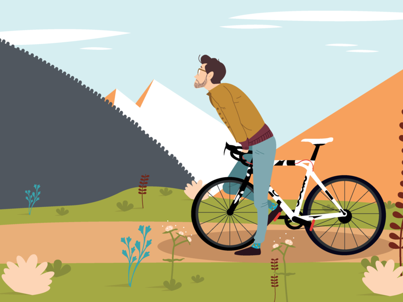 Bike boy mountain bike boy forest illustrator art illustrator illustration