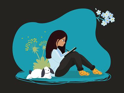 Draw character design girl rabbit vector animal design cute illustrator art illustrator illustration