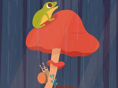Rainy day mushroom snail frog vector animal design forest cute illustrator art illustrator illustration