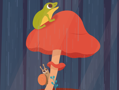 Rainy day mushroom snail frog vector animal design forest cute illustrator art illustrator illustration