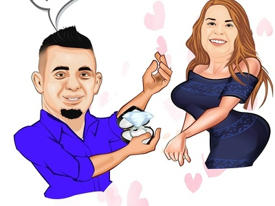 will you marry me cartoon portrait
