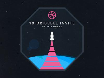 Dribbble Invite invite invitation space dribbble retro future nasa flat colors typography rocket contest