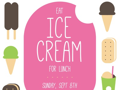 Eat Ice Cream for Lunch ice cream vector icons illustration typography pink summer invitation invite dessert cookie social