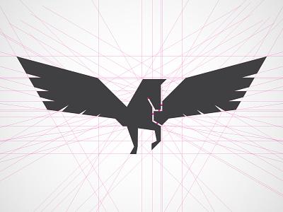 Pegasus Angles icon branding mark serif wings horse pegasus seal logo sketch